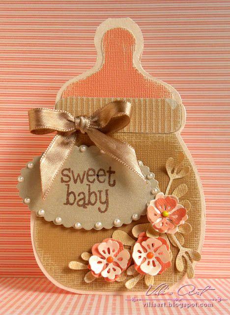 baby bottle shaped card