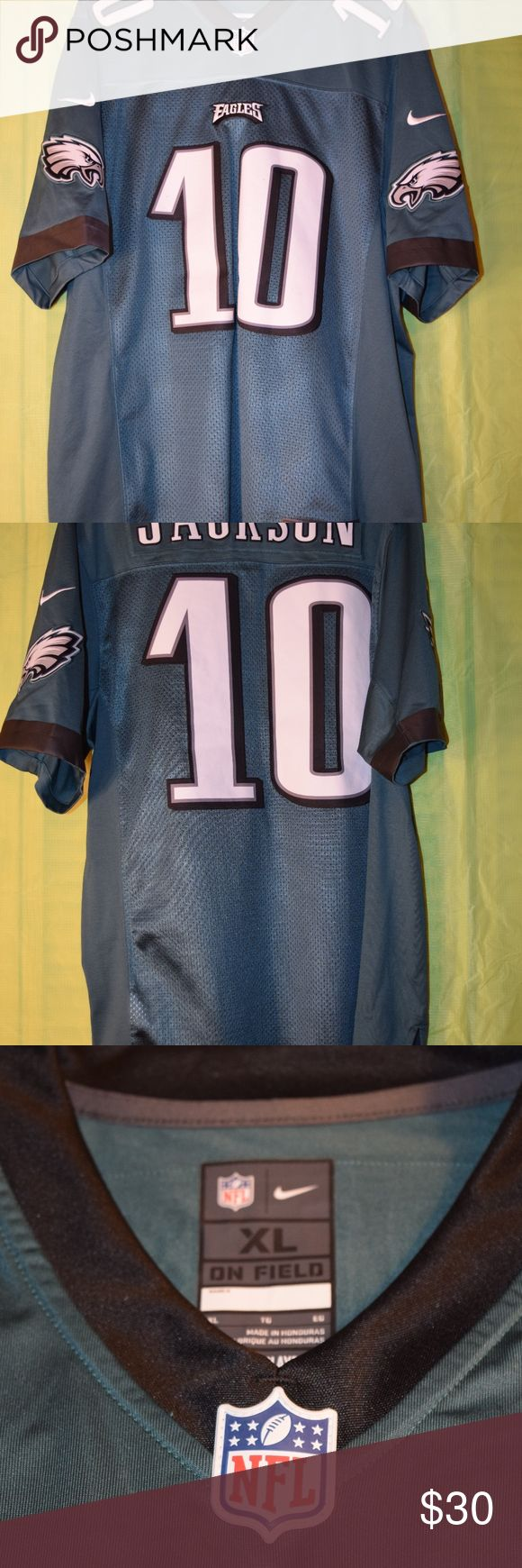 Men's DeSean Jackson Philadelphia Eagles Jersey Men's Mike DeSean Jackson Philadelphia Eagles Game Jersey. Midnight Green. Size XL. No rips or snags. Some bleed through of back background on front numbers. Stitched numbers and lettering. Nike NFL Shirts