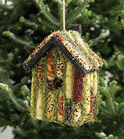 Indian corn bird house. Feeder and house in one!