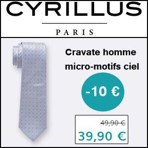#missbonreduction; 10 € de réduction sur la Cravate homme micro-motifs ciel chez Cyrillus.http://www.miss-bon-reduction.fr//details-bon-reduction-Cyrillus-i228-c1830806.html