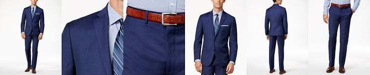 Ryan Seacrest Distinction Men's Blue Solid Modern Fit Suit Separates