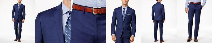 Ryan Seacrest Distinction Men's Blue Solid Modern Fit Suit Separates