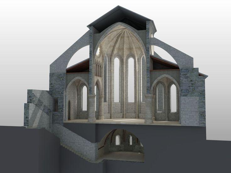 Colegiata de Roncesvalles. Sección transversal por la cripta.