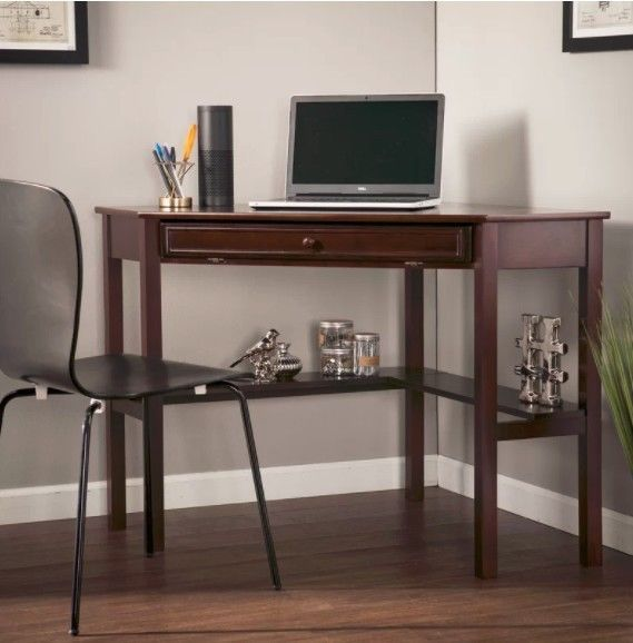 Wooden Office Desk Vintage Home Computer Writing Table Shelf Corner Workstation