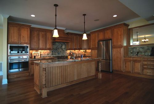 10 Kitchen Cabinet Tips: Stained Beadboard Kitchen Cabinet