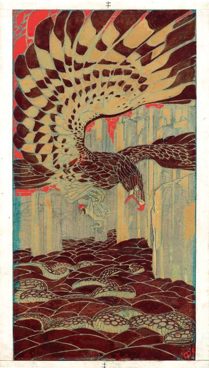 venusmilk:    Duilio Cambellotti Arabian Nights - Temperas on paper (1912-1913)     i really enjoy this color combination. i also like the iterations of natural patterns: the eagle's wings, scales on the snakes, and the rocks along the bottom.