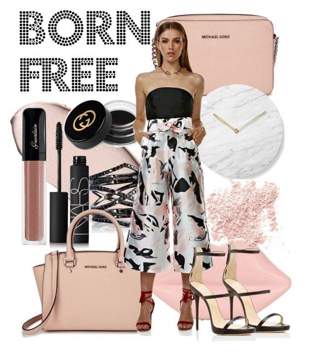 Born Free Culottes Print by swishclothing-official on Polyvore featuring Giuseppe Zanotti, Michael Kors, Lulu Guinness, Eva Fehren, Bare Escentuals, Gucci, NARS Cosmetics, Menu, women's clothing and women's fashion