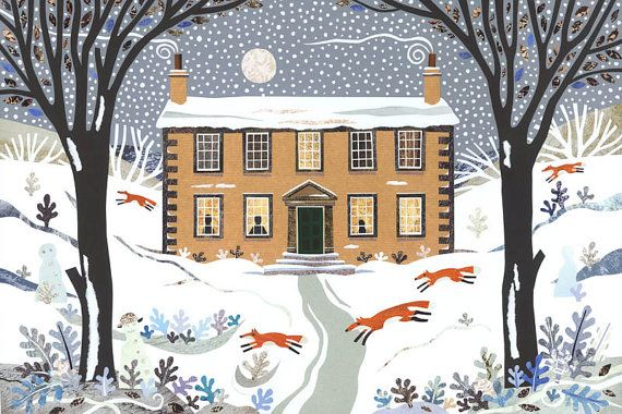 3 Bronte Christmas cards  Haworth Parsonage  foxes by AmandaAWhite, $12.00