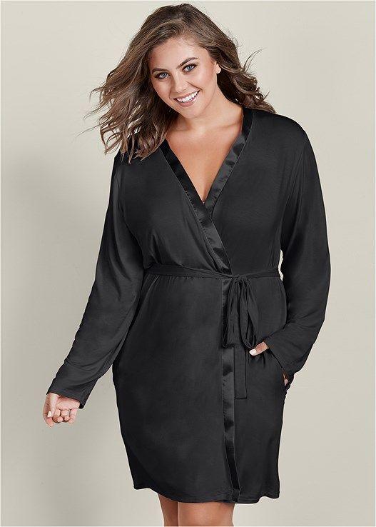 70610f6c03 Venus Women s Plus Size Satin Trim Short Robe Pajamas - Black