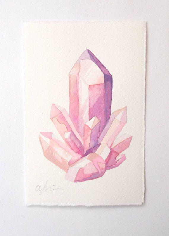 Rosa Quarz-Cluster – Original Aquarell