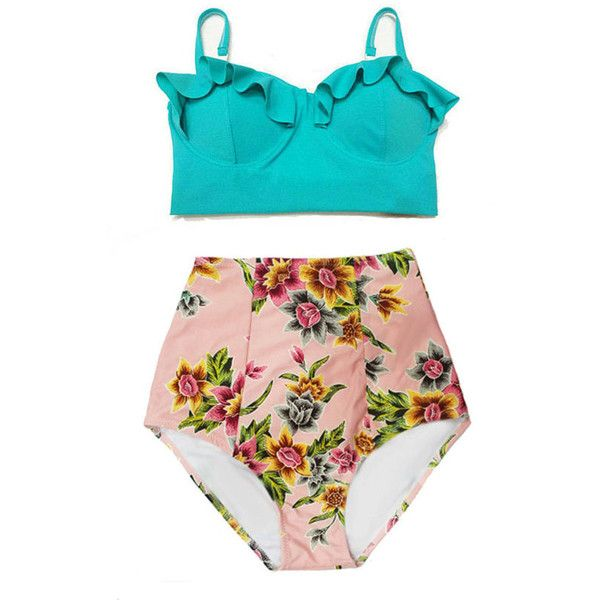 Swimwear Swimsuit Bathing Suit Bikin Mint Teal Midkini Top and Pink... ($40) ❤ liked on Polyvore featuring swimwear, bikinis, silver, women's clothing, retro high waisted swimsuit, high waisted swim suit, swimsuits high waisted bikini, retro swim suit and mint swim bathing suits