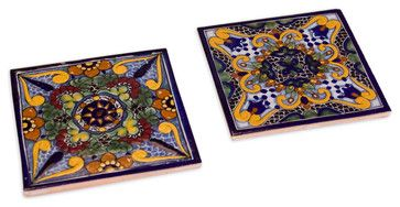 Moroccan Midnight Talavera Tile Trivets, Set of 2 traditional serveware..these would make a great backsplash.