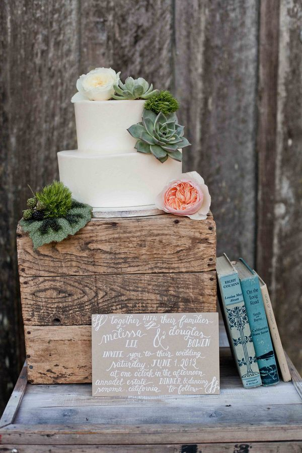 Cute cake without the stuff on it, nice and simple-simple rustic cake with succulents
