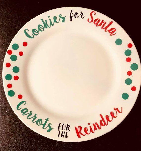 Rudolph Cookies for Santa Personalized Christmas Platter Watercolor Santa