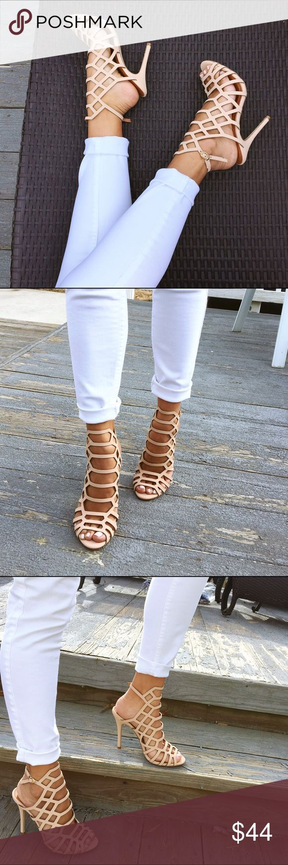 Nude caged heels New never worn out. Very comfortable! Size 6 but I'm a 5.5 and they fit great! Boutique brand. Shoes Heels