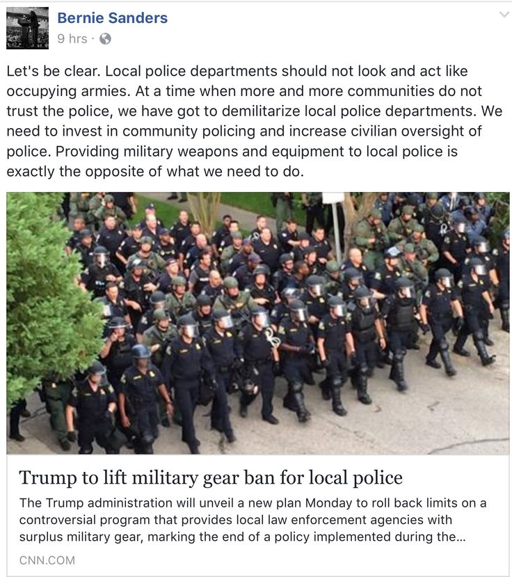 Let's be clear. Local police departments should not look and act like occupying armies. At a time when more and more communities do not trust the police, we have got to demilitarize local police departments. We need to invest in community policing and increase civilian oversight of police. Providing military weapons and equipment to local police is exactly the opposite of what we need to do.