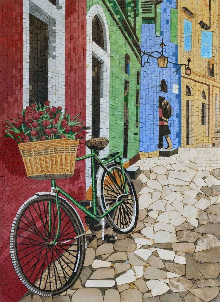 Parisian Narrow Street Mosaic Artwork for Sale