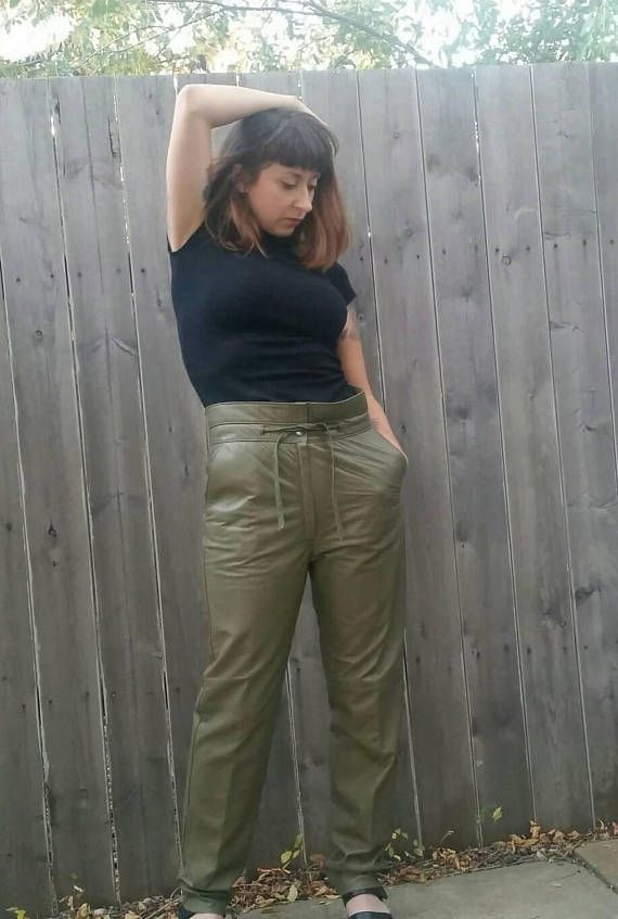 Check out this item in my Etsy shop https://www.etsy.com/listing/561520705/vintage-1980s-olive-green-high-waisted