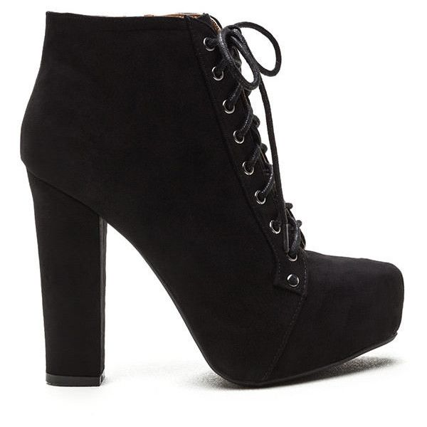Easy Decision Faux Suede Chunky Booties BLACK ($35) ❤ liked on Polyvore featuring shoes, boots, ankle booties, ankle boots, black, black ankle boots, black platform boots, lace up booties and lace-up ankle boots