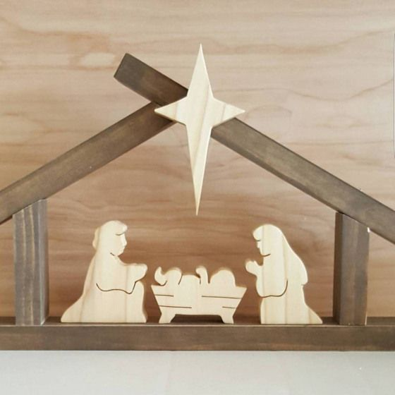 SMALL Nativity set with small stable Baby Jesus Mary #smallwoodcrafts