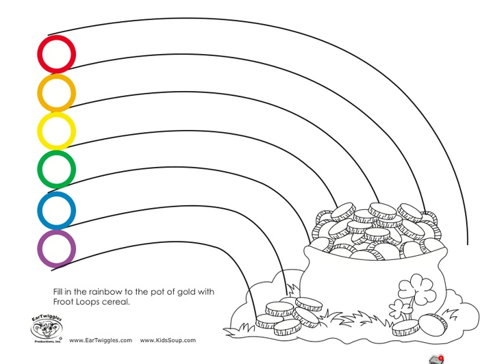 10++ Rainbow pot of gold coloring pages info