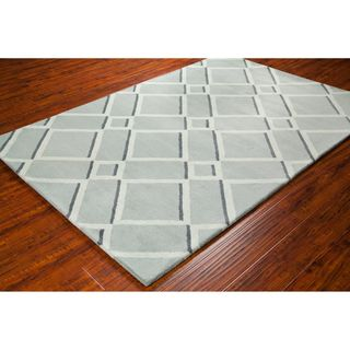 Handmade Allie Grey/ Light Grey Geometric Wool Rug (5' x 7'6) | Overstock.com Shopping - Great Deals on Filament 5x8 - 6x9 Rugs
