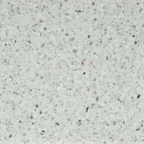 White Terrazzo 16x16 tiles a favorite for easy maintenance flooring.