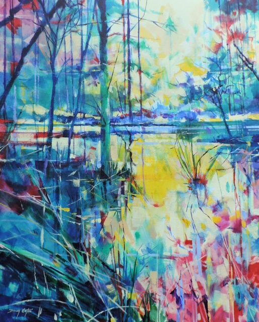 Meadowcliff Pond - Forest of Dean. Acrylic on canvas painting 61 x 76cm.   Ref: 014-019