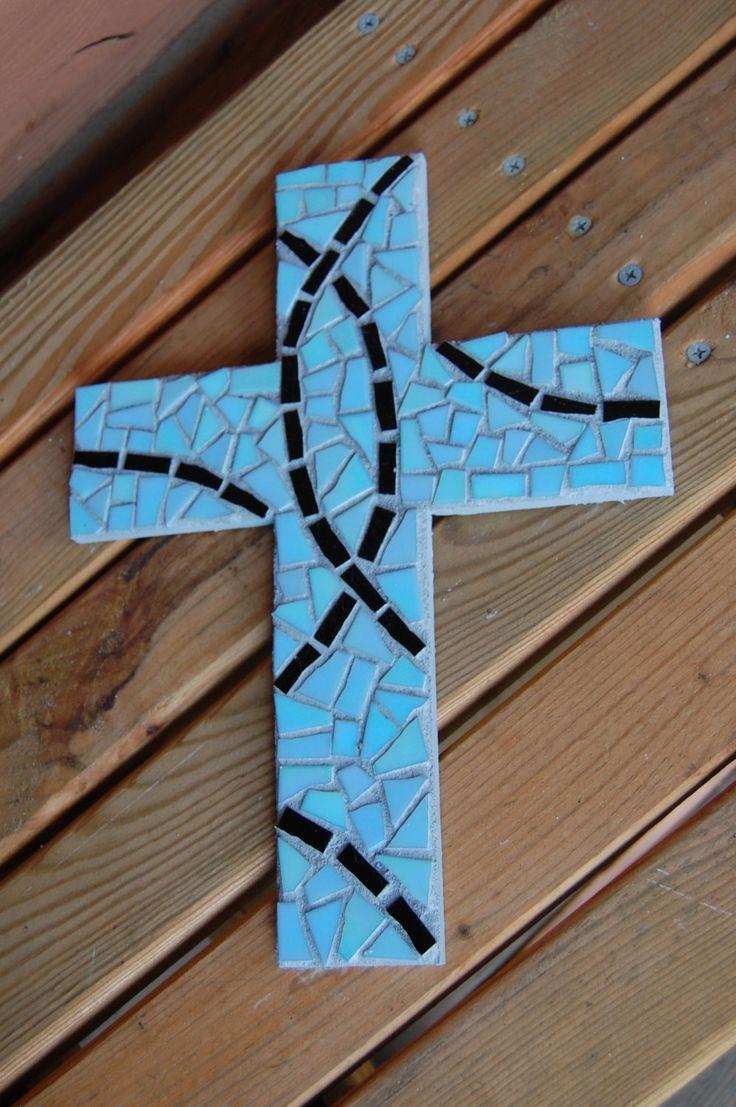 Mosaic Cross - Turquoise Blue & Black