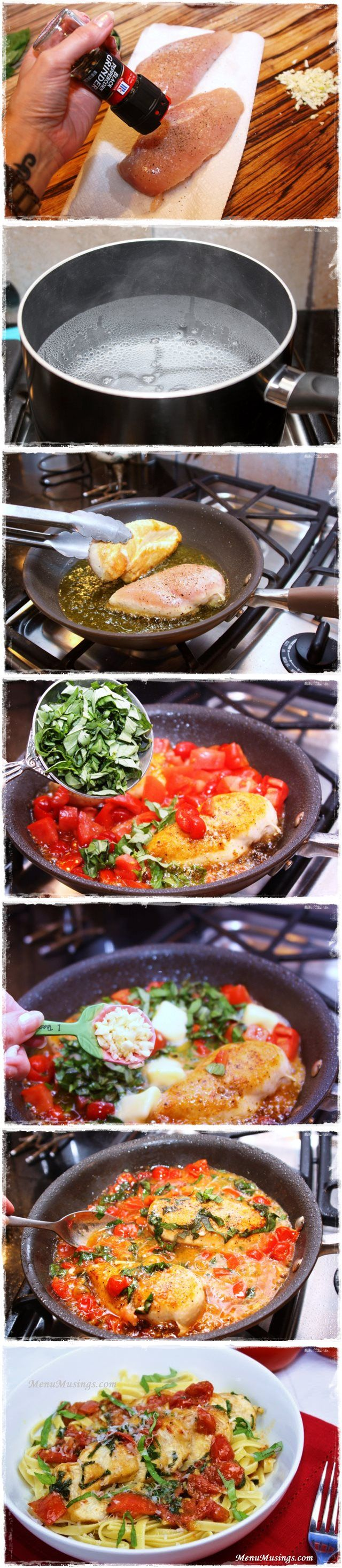 Tomato Basil Chicken.. I just made this now for lunch, hubs liked it. I also used low carb pasta it was delicious.