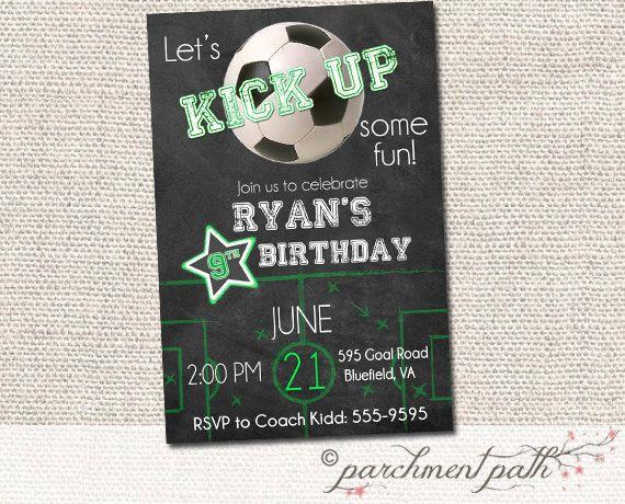 soccer birthday invitation personalized invite chalkboard