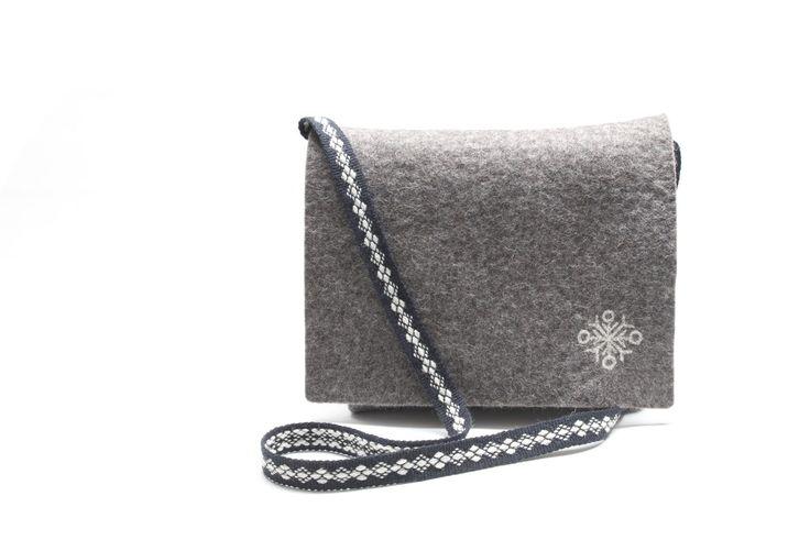 felted  handmade messenger bag medium sized with crossbody handwoven strap