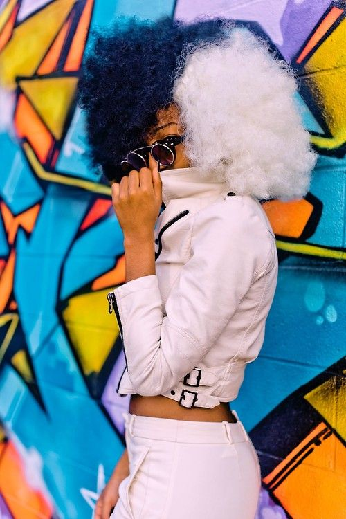 Tiffany, 22, NYC, www.kart00nista.com, fashion, style, black and white hair, afro hair, curly hair, colorful hair