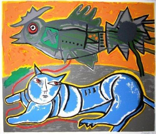 Corneille ~ Le grand chat bleu (H.C.) FOR SALE! corneille (1922-2010)