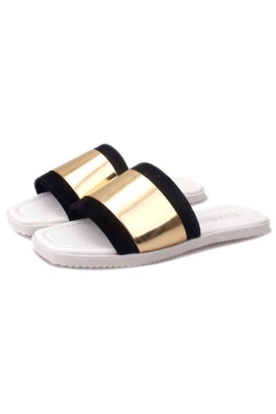 New Style Golden Silvery Metallic Slippers