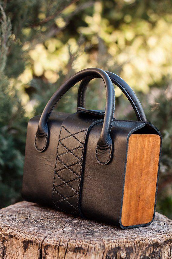 Ladies handbag Handmad woman bag from leather and wood | Etsy