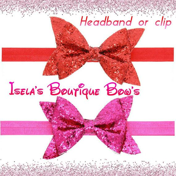 glitter bows/headband handmade by iselasboutiquebows on Etsy