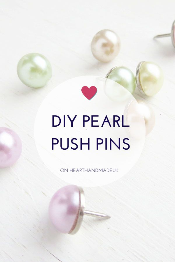 DIY Pearl Push Pins Tutorial This is one of the easiest DIY projects you will ever do! Or could ever want to do! I love creating push pins and magnets because all you need is glue, something pretty to stick...