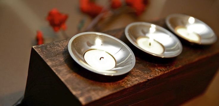 Chandelle Galerie- Wooden tea light holders available in store.