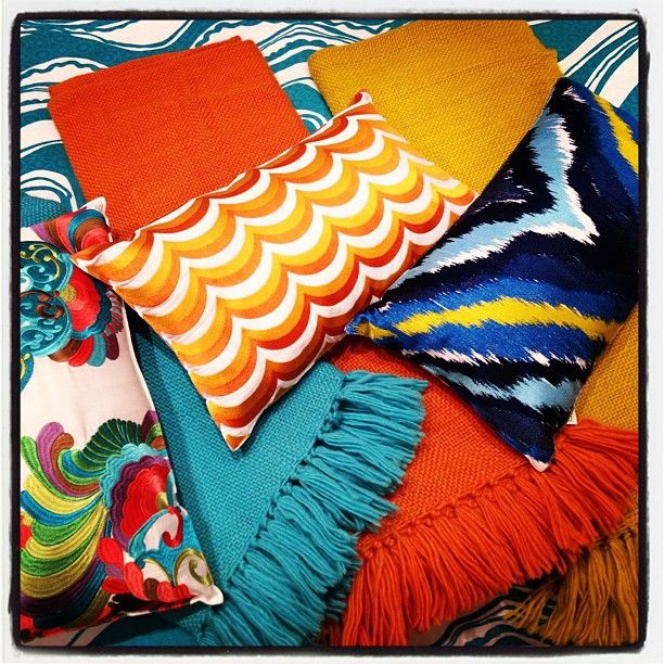 A snapshot of Trina Turk bedding and throws.
