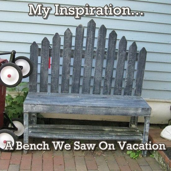 Garden bench made from old picket fence. http://creativecountrymom.blogspot.com/2012/06/my-diy-picket-fence-bench-lowes.html