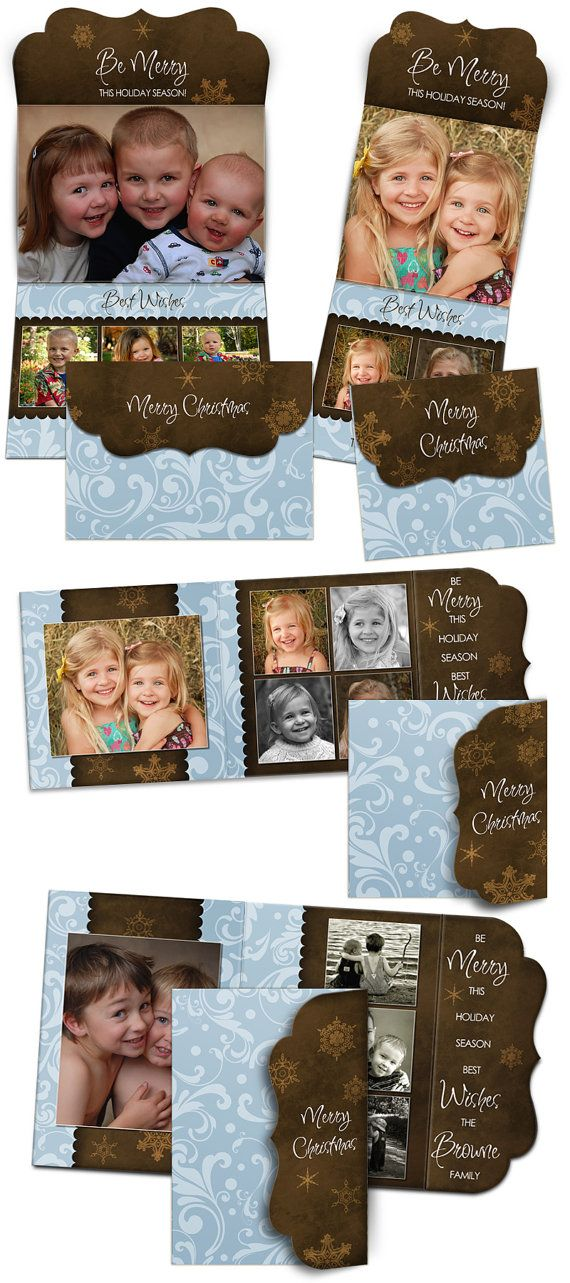 Christmas Card Design - BE MERRY - (8) Tri-Fold Luxe Card Digital Photoshop Templates for Photographers. $19.99, via Etsy.