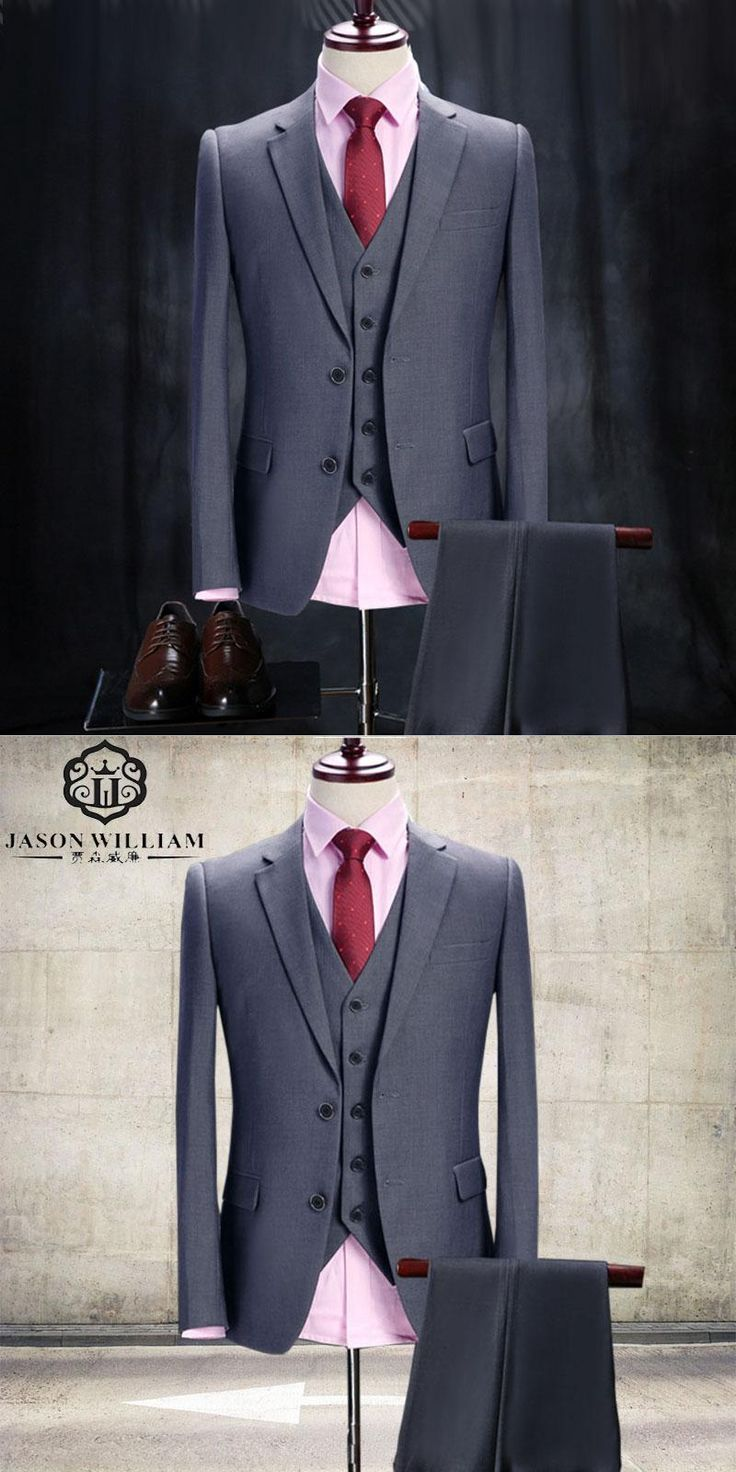 LN042 Gray Wedding Tuxedo Custom Made Grey Suits Gray Groom Suit Mens Gray Tuxedo Jacket 2017 Wedding Tuxedos 3 Piece Grey Suit
