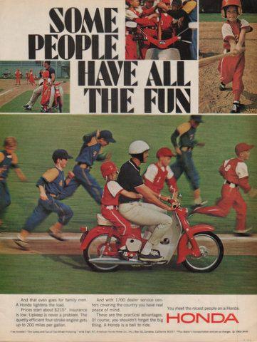 1966 Honda Scooter print ad Little League baseball by Vividiom, $9.00
