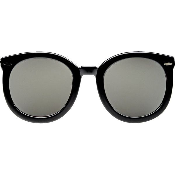Karen Walker Super Duper Strength Sunglasses (8.175 UYU) ❤ liked on Polyvore featuring accessories, eyewear, sunglasses, glasses, black, occhiali, round mirrored sunglasses, black mirror sunglasses, black sunglasses and uv protection sunglasses