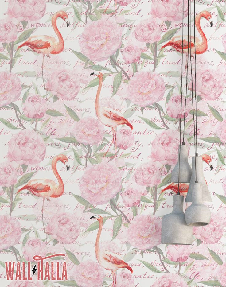 Flamingo Vintage Flowers Wallpaper - Removable Wallpaper - Pink Flamingos Wallpaper - Flamingo Print - Tropical Peel and Stick Wallpaper by WallHalla on Etsy https://www.etsy.com/listing/502735683/flamingo-vintage-flowers-wallpaper