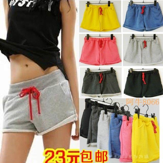 Сезонов Доставка корейских женщин керлинг махровые шорты случайные хлопка шнурок брюки свободные шорты - Taobao