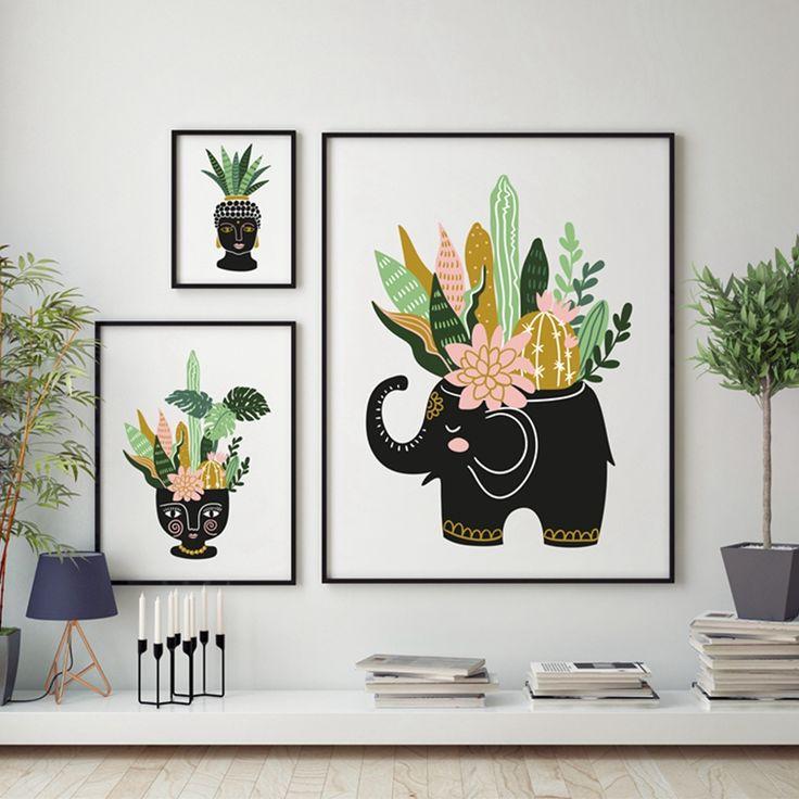 Рисованной тропический дом растений и цветов в керамический горшок плакат отпечатки на холсте, современный и элегантный тропический домашний декор