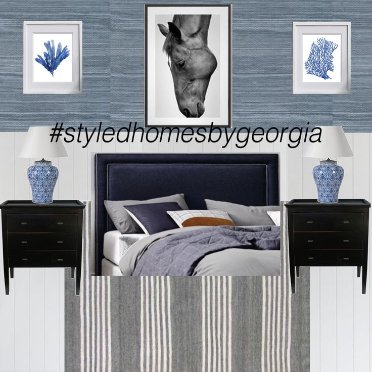 Navy Blue ➕ Grey Bedroom | Panelled Walls | Grasscloth Wallpaper #styledhomesbygeorgia #moodboard #interiors #design #propertystylist #melbournestylist #interiordecorator #uistylistscout #hamptons #bedroom #blueandwhite #classicstyle #classic #style