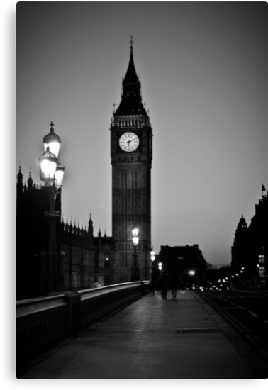 """Big Ben B/W"" Canvas Print #decoration #gifts #home #london  Size: 20,3 cms x 30,5 cms Price: €56,16"